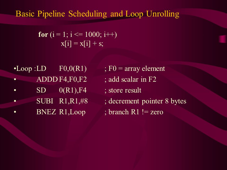 We can schedule the loop to obtain only one stall : Loop :LDF0,0(R1) SUBIR1,R1,#8 ADDDF4,F0,F2 stall BNEZR1,Loop; delayed branch SD8(R1),F4; altered & interchanged with SUBI Execution time has been reduced from 10 clock cycles to 6.