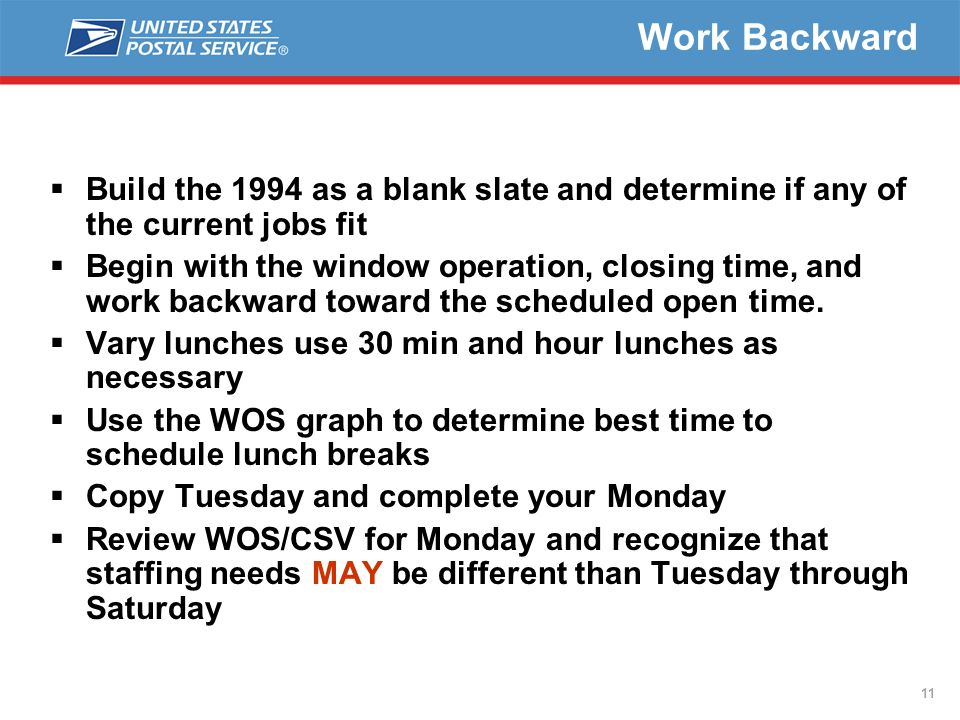11 Work Backward  Build the 1994 as a blank slate and determine if any of the current jobs fit  Begin with the window operation, closing time, and work backward toward the scheduled open time.