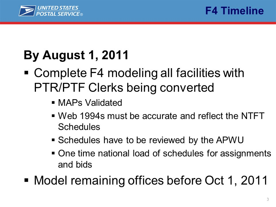 3 F4 Timeline By August 1, 2011  Complete F4 modeling all facilities with PTR/PTF Clerks being converted  MAPs Validated  Web 1994s must be accurate and reflect the NTFT Schedules  Schedules have to be reviewed by the APWU  One time national load of schedules for assignments and bids  Model remaining offices before Oct 1, 2011