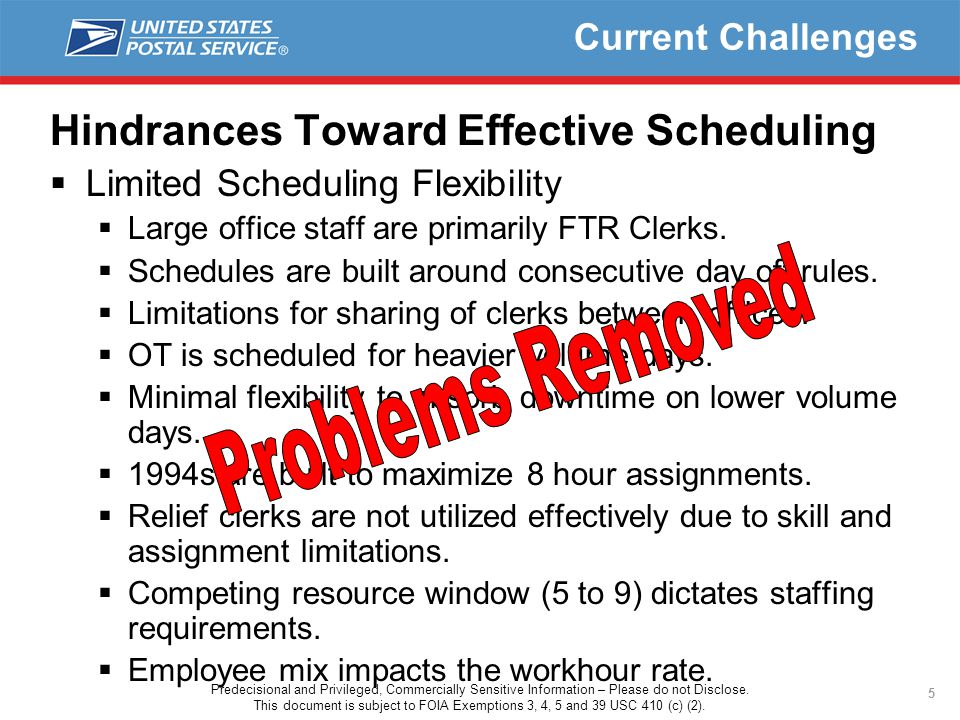 5 Current Challenges Hindrances Toward Effective Scheduling  Limited Scheduling Flexibility  Large office staff are primarily FTR Clerks.