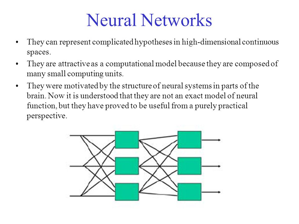 Neural Networks They can represent complicated hypotheses in high-dimensional continuous spaces.