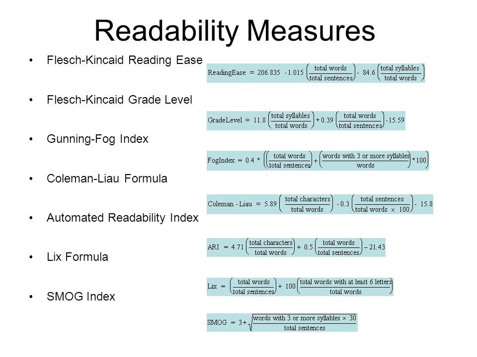 Readability Measures Flesch-Kincaid Reading Ease Flesch-Kincaid Grade Level Gunning-Fog Index Coleman-Liau Formula Automated Readability Index Lix For