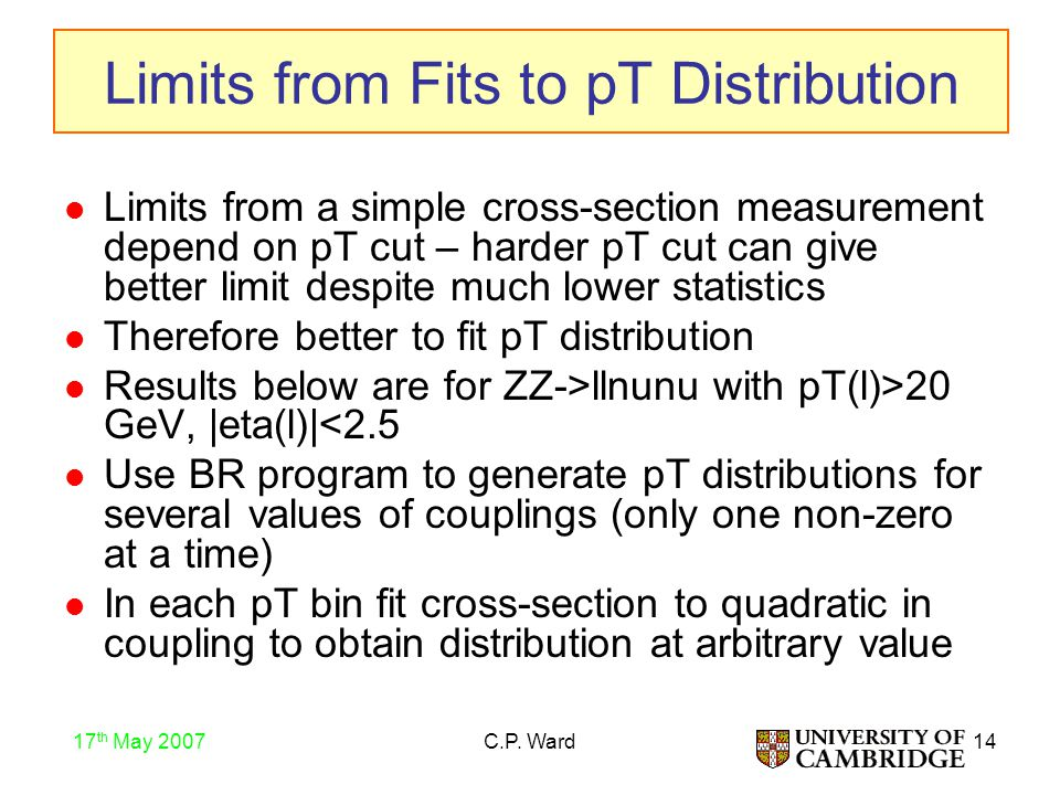 14 17 th May 2007 C.P. Ward Limits from Fits to pT Distribution Limits from a simple cross-section measurement depend on pT cut – harder pT cut can gi