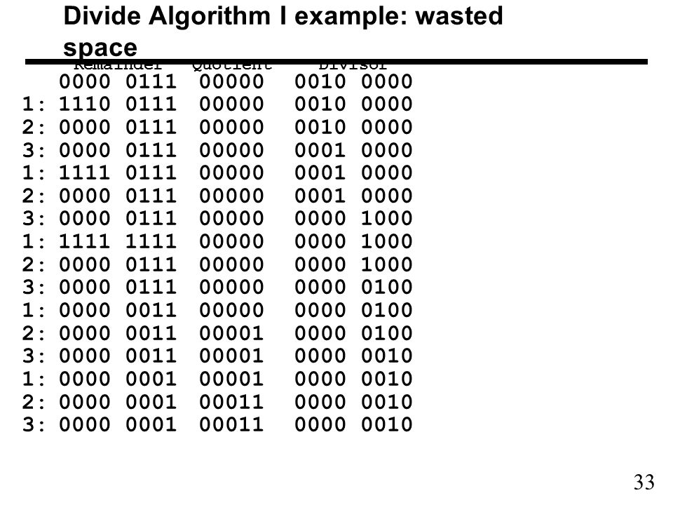 33 Divide Algorithm I example: wasted space Remainder QuotientDivisor 0000 0111000000010 0000 1:1110 0111000000010 0000 2:0000 0111000000010 0000 3:0000 0111000000001 0000 1:1111 0111000000001 0000 2:0000 0111000000001 0000 3:0000 0111000000000 1000 1:1111 1111000000000 1000 2:0000 0111000000000 1000 3:0000 0111000000000 0100 1:0000 0011000000000 0100 2:0000 0011000010000 0100 3:0000 0011000010000 0010 1:0000 0001000010000 0010 2:0000 0001000110000 0010 3:0000 0001000110000 0010