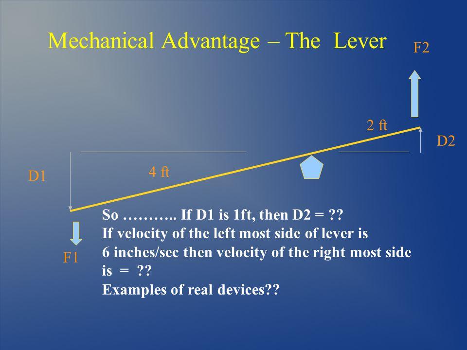 Mechanical Advantage – The Lever D2 F1 F2 So ………..