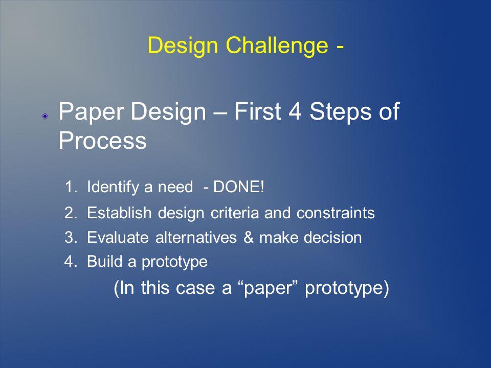 Design Challenge - Paper Design – First 4 Steps of Process 1.