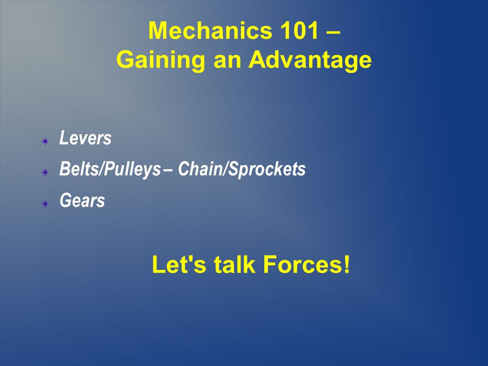 Mechanical Advantage – The Lever D2 F1 F2 Demo – Resolution of Forces Where did it go? D1