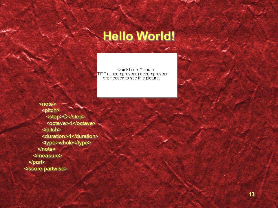13 Hello World! C 4 4 whole C 4 4 whole