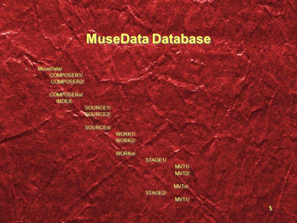 5 MuseData Database MuseData/ COMPOSER1/ COMPOSER2/...
