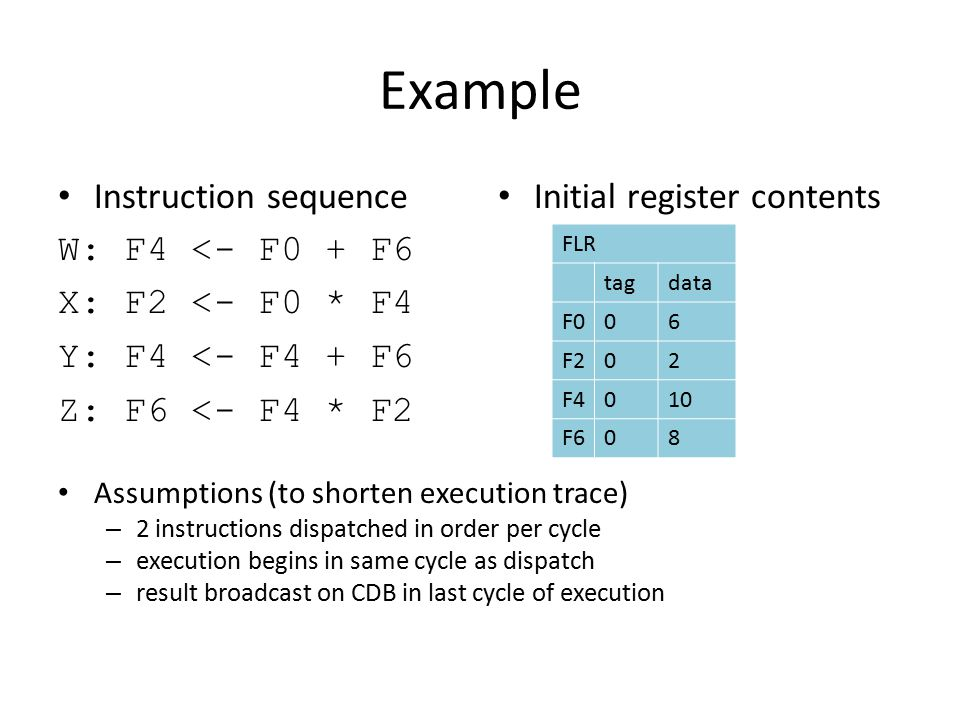 Assumptions (to shorten execution trace) – 2 instructions dispatched in order per cycle – execution begins in same cycle as dispatch – result broadcast on CDB in last cycle of execution Example Instruction sequence W: F4 <- F0 + F6 X: F2 <- F0 * F4 Y: F4 <- F4 + F6 Z: F6 <- F4 * F2 Initial register contents FLR tagdata F006 F202 F4010 F608