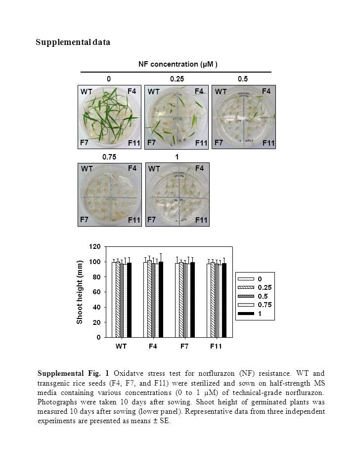 0.2500.5 10.75 Supplemental Fig. 1 Oxidatve stress test for norflurazon (NF) resistance.