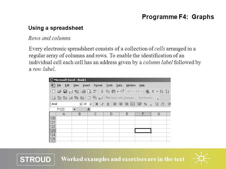 STROUD Worked examples and exercises are in the text Using a spreadsheet Rows and columns Programme F4: Graphs Every electronic spreadsheet consists of a collection of cells arranged in a regular array of columns and rows.