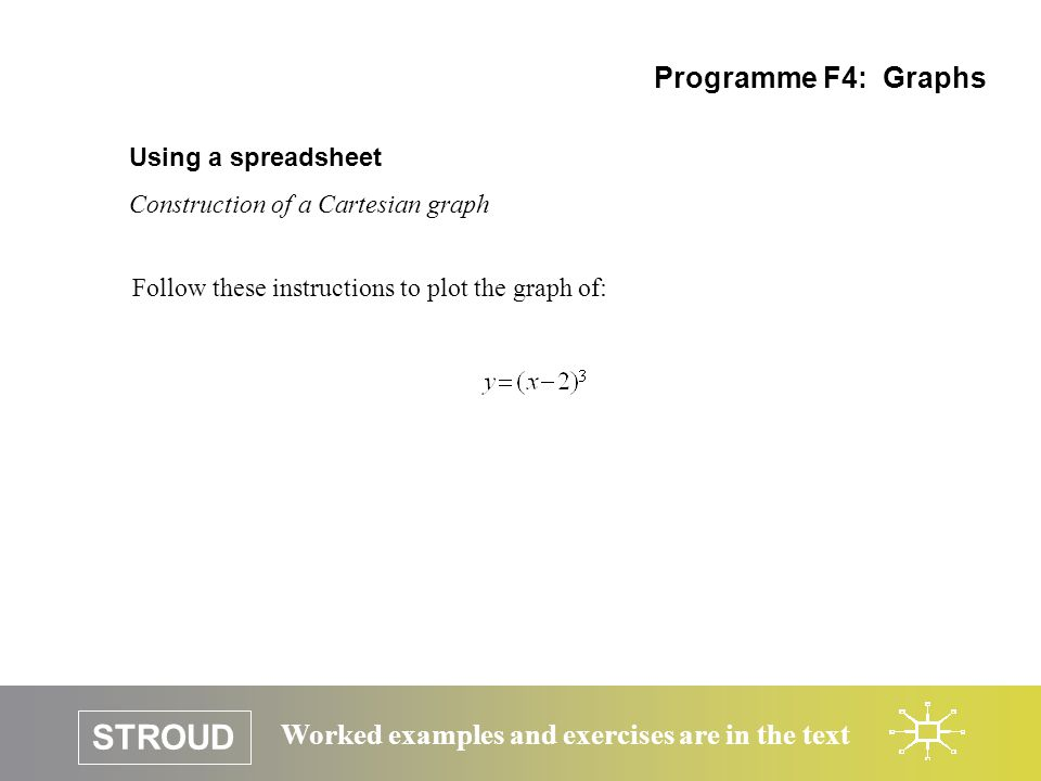 STROUD Worked examples and exercises are in the text Using a spreadsheet Construction of a Cartesian graph Programme F4: Graphs Follow these instructions to plot the graph of: