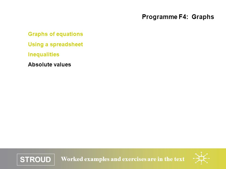 STROUD Worked examples and exercises are in the text Graphs of equations Using a spreadsheet Inequalities Absolute values Programme F4: Graphs