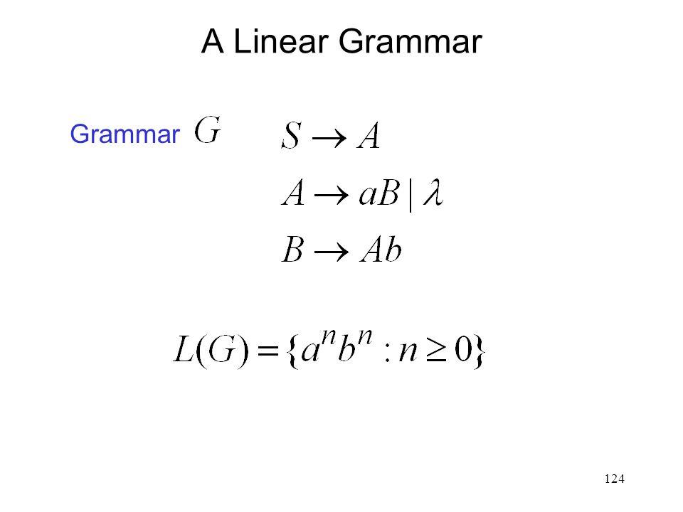 124 A Linear Grammar Grammar