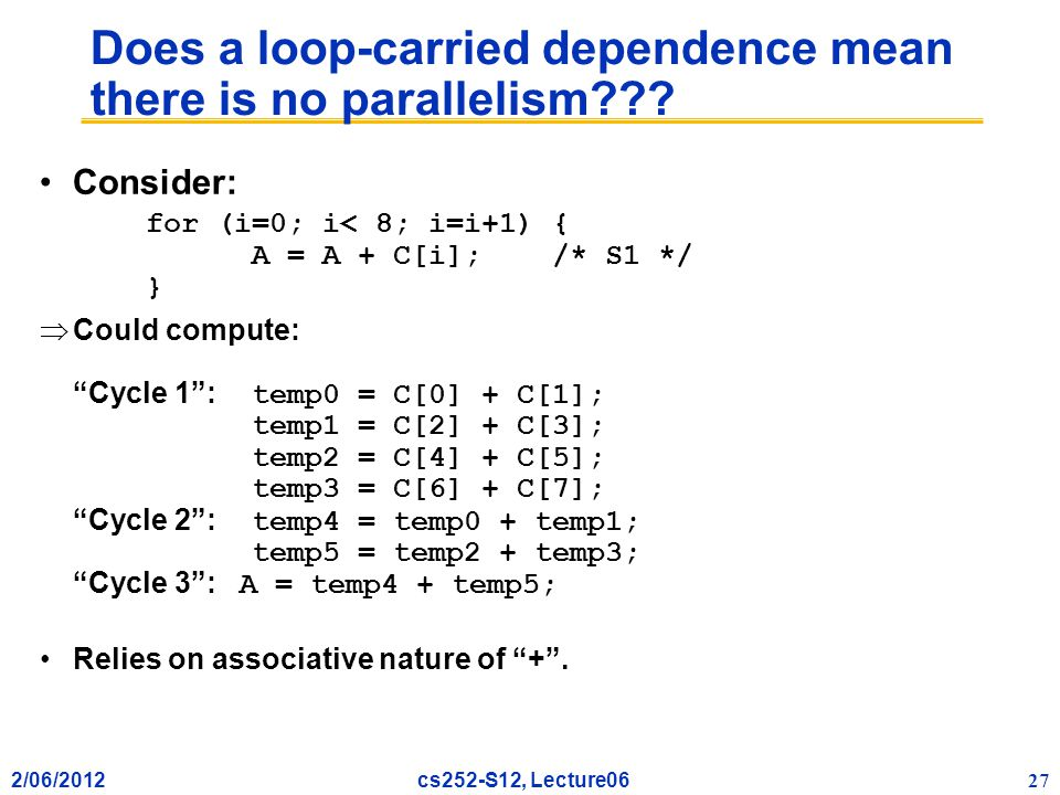 2/06/2012 27 cs252-S12, Lecture06 Does a loop-carried dependence mean there is no parallelism .