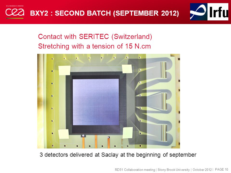 BXY2 : SECOND BATCH (SEPTEMBER 2012) Contact with SERITEC (Switzerland) Stretching with a tension of 15 N.cm | PAGE 10 RD51 Collaboration meeting | Stony Brook University | October 2012 3 detectors delivered at Saclay at the beginning of september