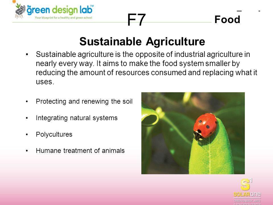 Food F7 Sustainable Agriculture Sustainable agriculture is the opposite of industrial agriculture in nearly every way. It aims to make the food system