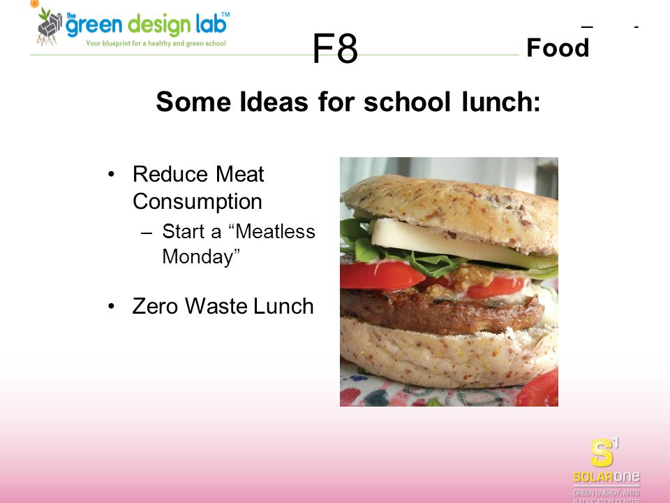 """Food F8 Some Ideas for school lunch: Reduce Meat Consumption –Start a """"Meatless Monday"""" Zero Waste Lunch"""