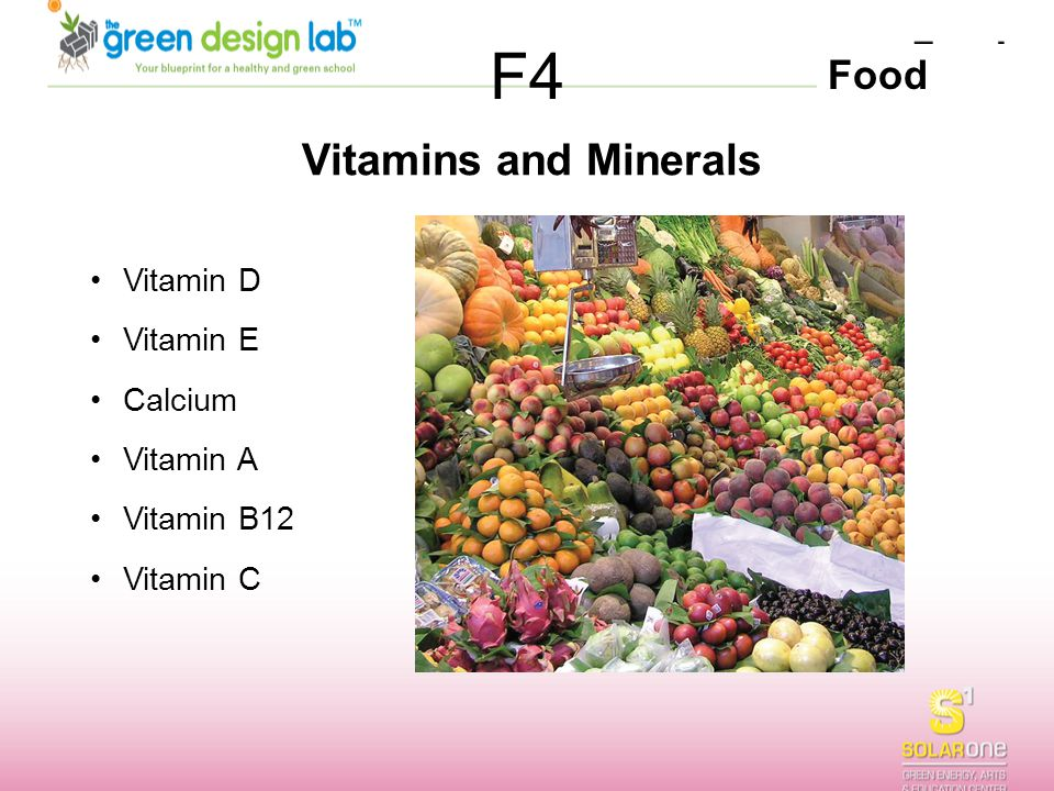 Food F4 Vitamins and Minerals Vitamin D Vitamin E Calcium Vitamin A Vitamin B12 Vitamin C