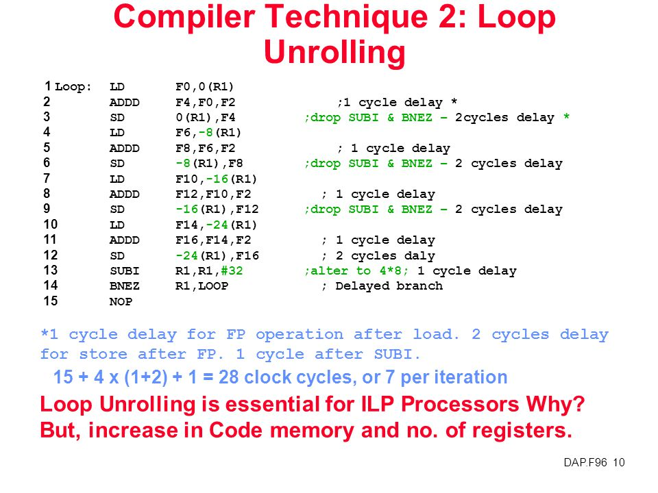 DAP.F96 10 Compiler Technique 2: Loop Unrolling 1 Loop:LDF0,0(R1) 2ADDDF4,F0,F2 ;1 cycle delay * 3SD0(R1),F4 ;drop SUBI & BNEZ – 2cycles delay * 4LDF6