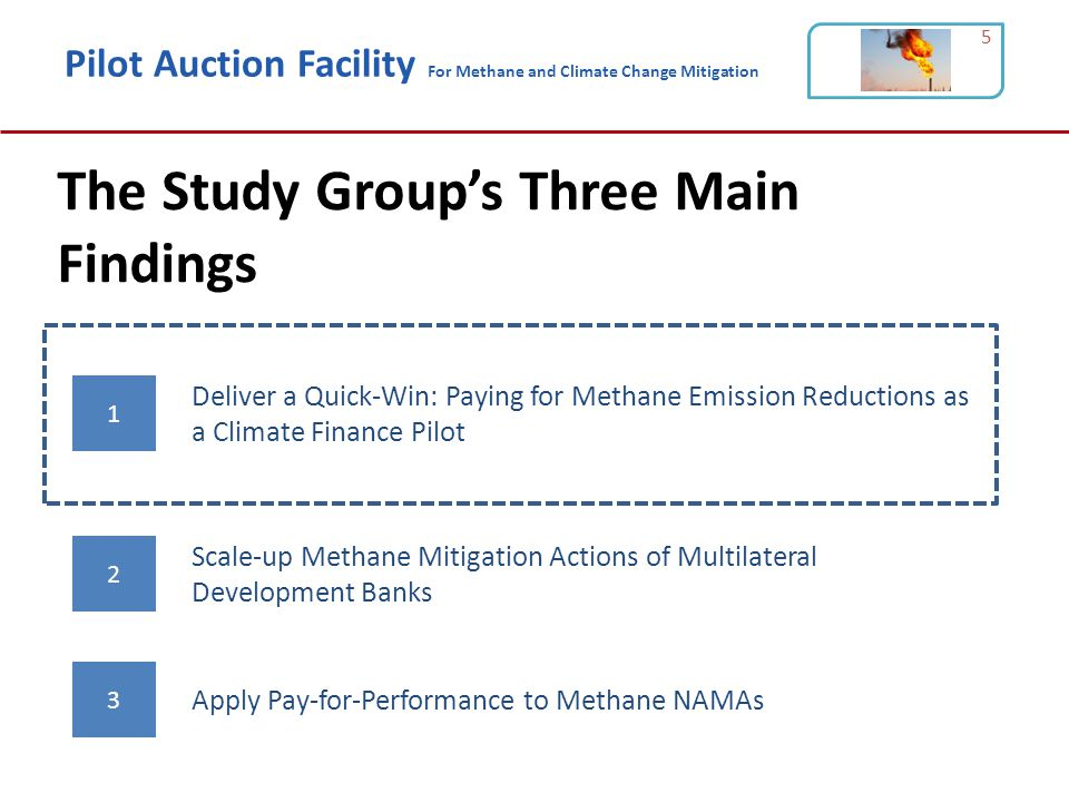 Pilot Auction Facility For Methane and Climate Change Mitigation The Study Group's Three Main Findings 5 1 2 3 Deliver a Quick-Win: Paying for Methane Emission Reductions as a Climate Finance Pilot Scale-up Methane Mitigation Actions of Multilateral Development Banks Apply Pay-for-Performance to Methane NAMAs