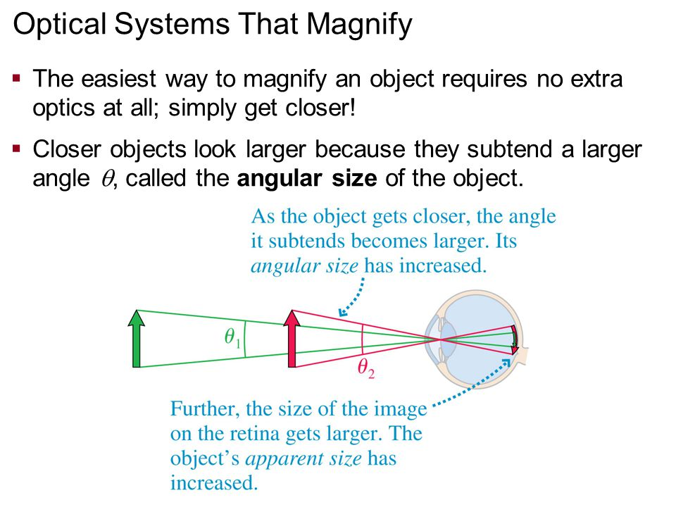 Optical Systems That Magnify  The easiest way to magnify an object requires no extra optics at all; simply get closer!  Closer objects look larger b