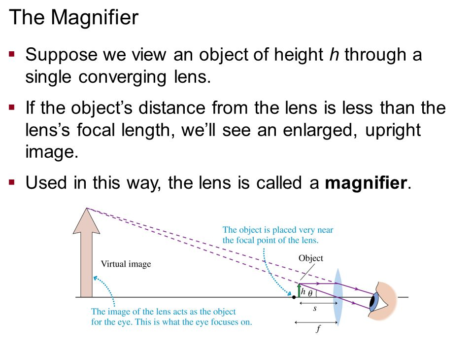 Suppose we view an object of height h through a single converging lens.  If the object's distance from the lens is less than the lens's focal lengt