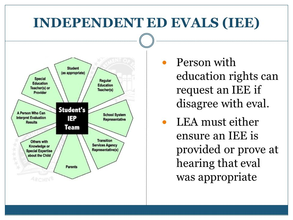 INDEPENDENT ED EVALS (IEE) Person with education rights can request an IEE if disagree with eval.