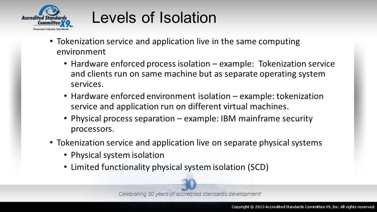 Levels of Isolation Tokenization service and application live in the same computing environment Hardware enforced process isolation – example: Tokeniz