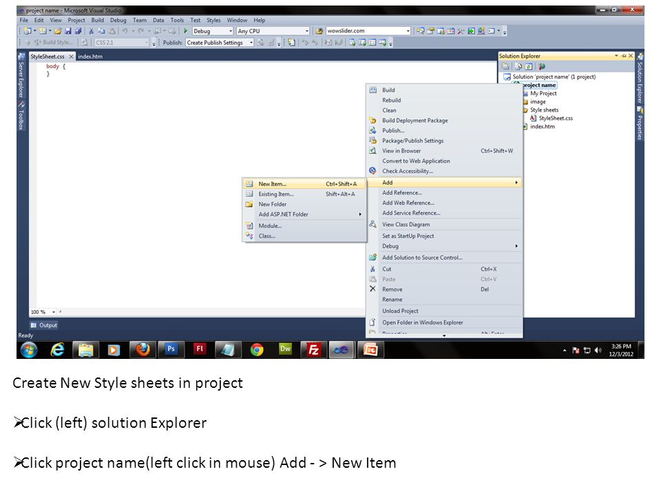 Create New Style sheets in project  Click (left) solution Explorer  Click project name(left click in mouse) Add - > New Item
