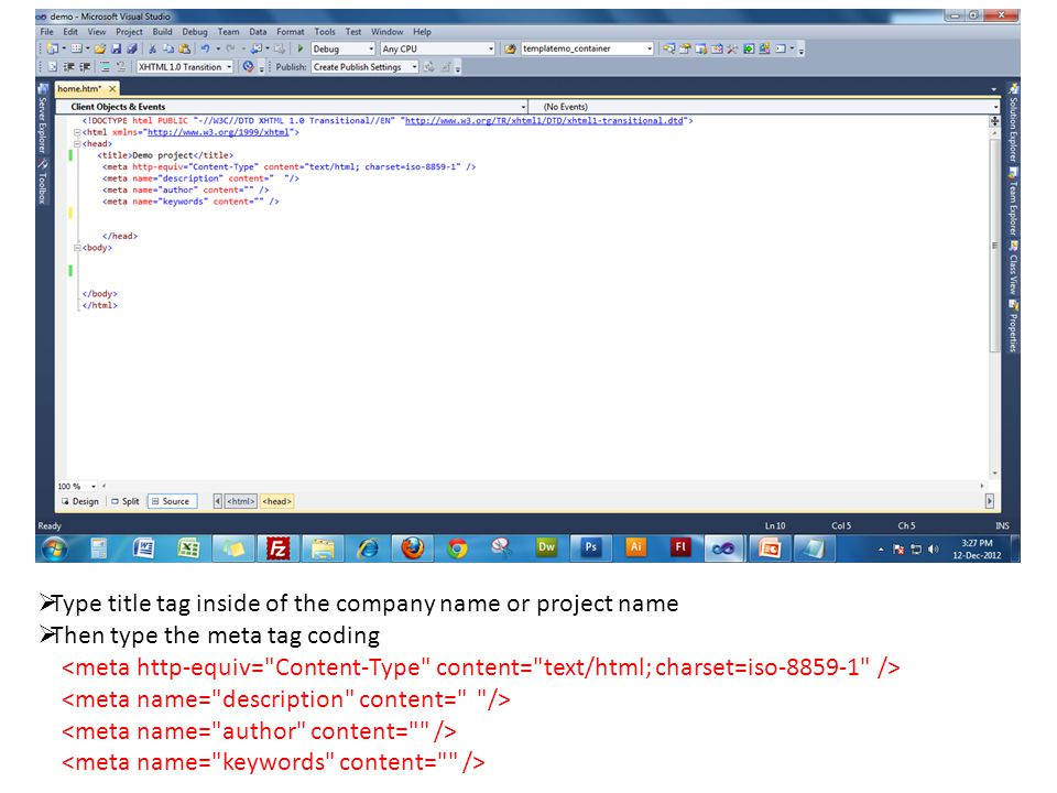  Type title tag inside of the company name or project name  Then type the meta tag coding