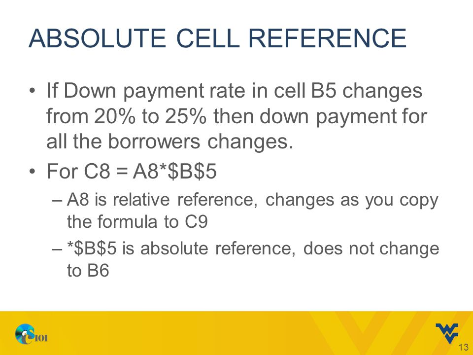 ABSOLUTE CELL REFERENCE If Down payment rate in cell B5 changes from 20% to 25% then down payment for all the borrowers changes. For C8 = A8*$B$5 –A8