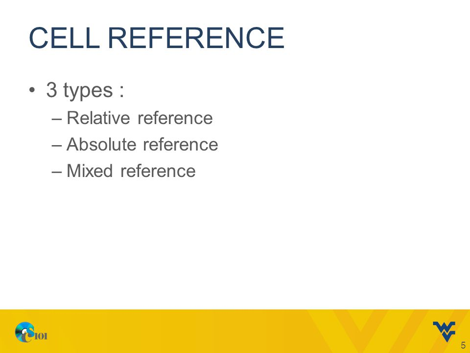 CELL REFERENCE 3 types : –Relative reference –Absolute reference –Mixed reference 5