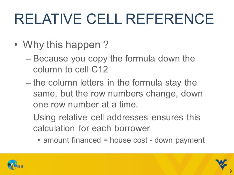 RELATIVE CELL REFERENCE Why this happen ? –Because you copy the formula down the column to cell C12 –the column letters in the formula stay the same,