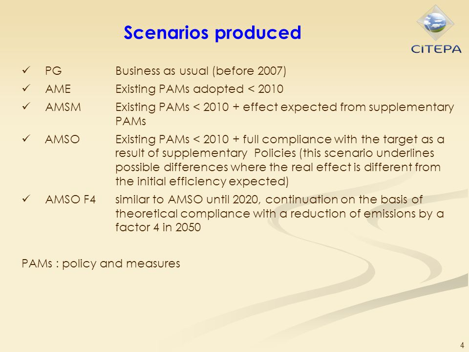 4 Scenarios produced PGBusiness as usual (before 2007) AMEExisting PAMs adopted < 2010 AMSMExisting PAMs < 2010 + effect expected from supplementary P
