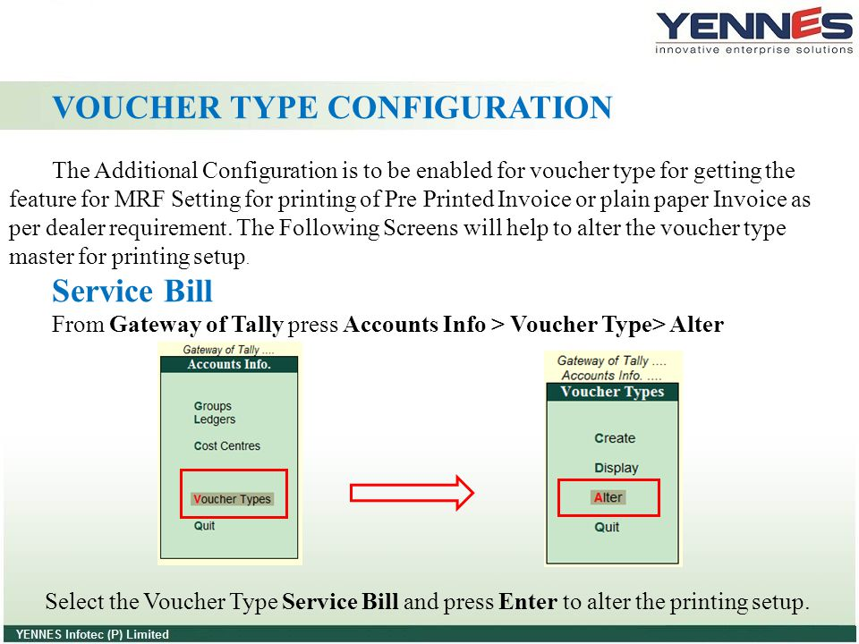 VOUCHER TYPE CONFIGURATION The Additional Configuration is to be enabled for voucher type for getting the feature for MRF Setting for printing of Pre