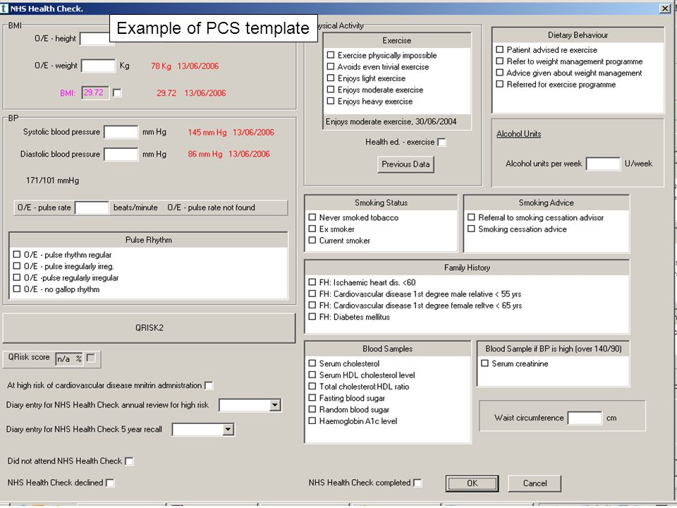 Example of PCS template