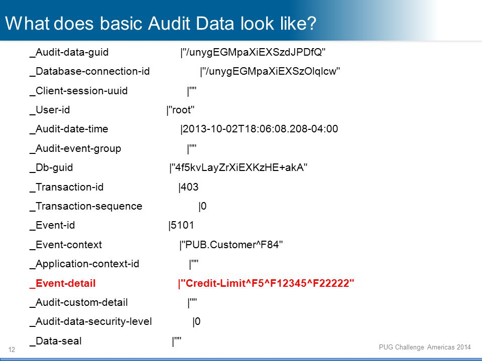 12 PUG Challenge Americas 2014 What does basic Audit Data look like.