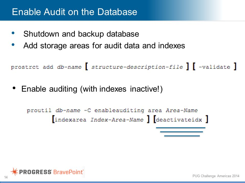 14 PUG Challenge Americas 2014 Enable Audit on the Database Enable auditing (with indexes inactive!) Shutdown and backup database Add storage areas for audit data and indexes