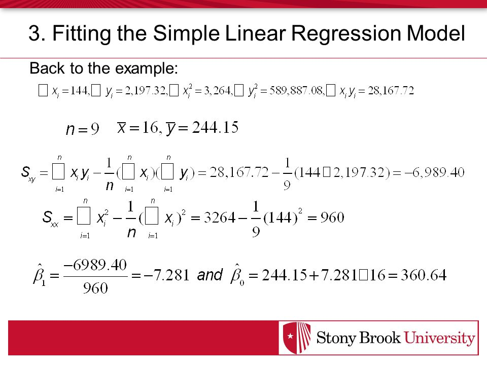 Back to the example: 3. Fitting the Simple Linear Regression Model