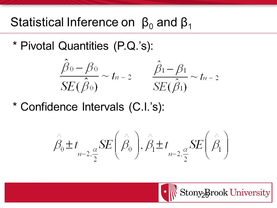 * Pivotal Quantities (P.Q.'s): * Confidence Intervals (C.I.'s): 25 Statistical Inference on β 0 and β 1