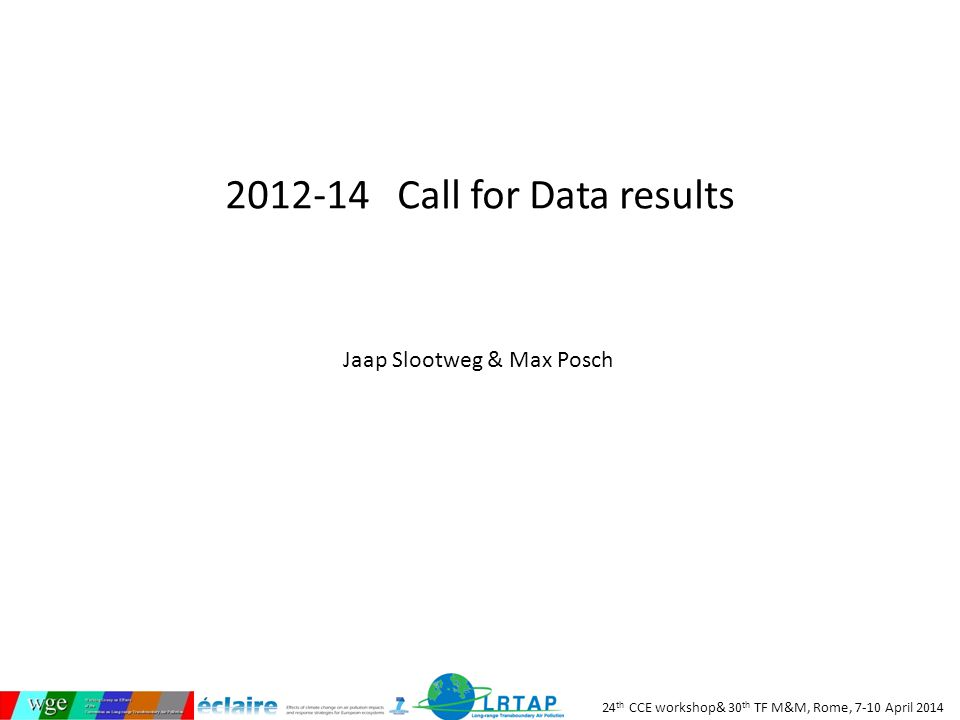 24 th CCE workshop& 30 th TF M&M, Rome, 7-10 April 2014 2012-14 Call for Data results Jaap Slootweg & Max Posch