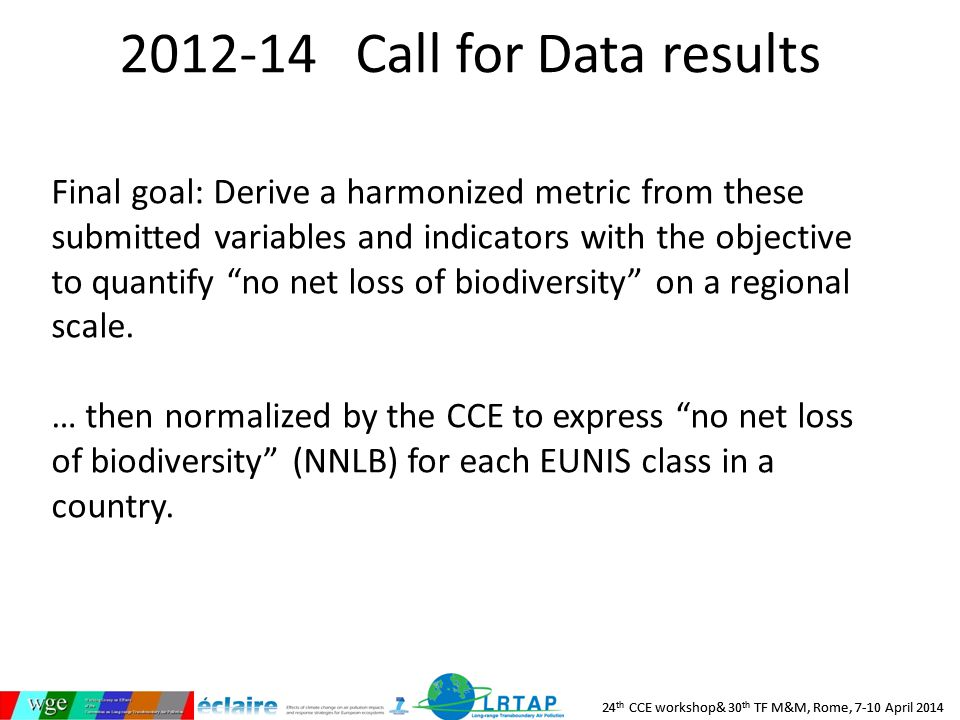 24 th CCE workshop& 30 th TF M&M, Rome, 7-10 April 2014 2012-14 Call for Data results Final goal: Derive a harmonized metric from these submitted variables and indicators with the objective to quantify no net loss of biodiversity on a regional scale.