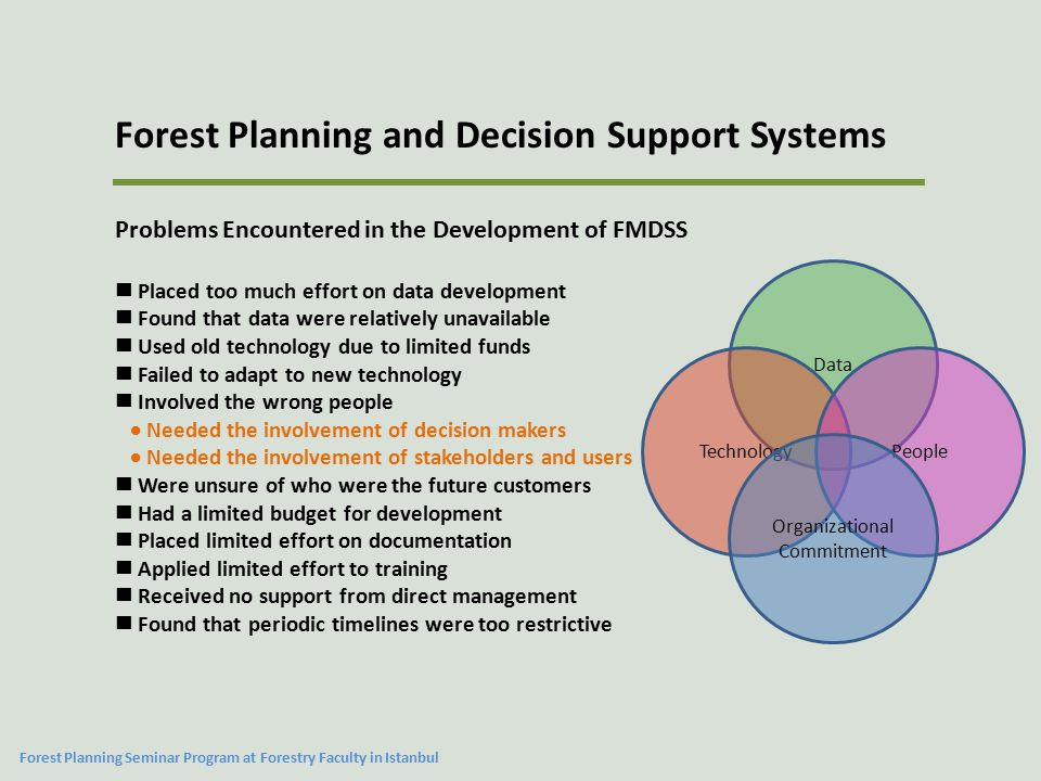 Problems Encountered in the Development of FMDSS Placed too much effort on data development Found that data were relatively unavailable Used old technology due to limited funds Failed to adapt to new technology Involved the wrong people  Needed the involvement of decision makers  Needed the involvement of stakeholders and users Were unsure of who were the future customers Had a limited budget for development Placed limited effort on documentation Applied limited effort to training Received no support from direct management Found that periodic timelines were too restrictive Data TechnologyPeople Organizational Commitment Forest Planning and Decision Support Systems Forest Planning Seminar Program at Forestry Faculty in Istanbul