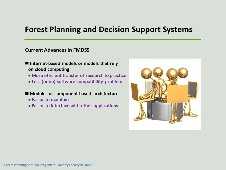 Current Advances in FMDSS Internet-based models or models that rely on cloud computing  More efficient transfer of research to practice  Less (or no) software compatibility problems Module- or component-based architecture  Easier to maintain  Easier to interface with other applications Forest Planning and Decision Support Systems Forest Planning Seminar Program at Forestry Faculty in Istanbul