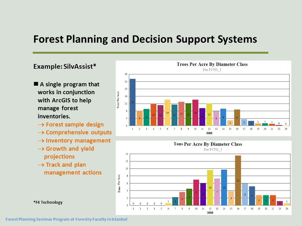 Forest Planning and Decision Support Systems Example: SilvAssist* A single program that works in conjunction with ArcGIS to help manage forest invento