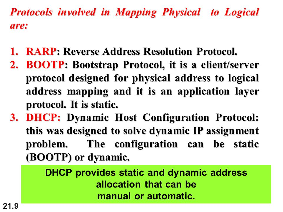 21.9 Protocols involved in Mapping Physical to Logical are: 1.RARP: Reverse Address Resolution Protocol.