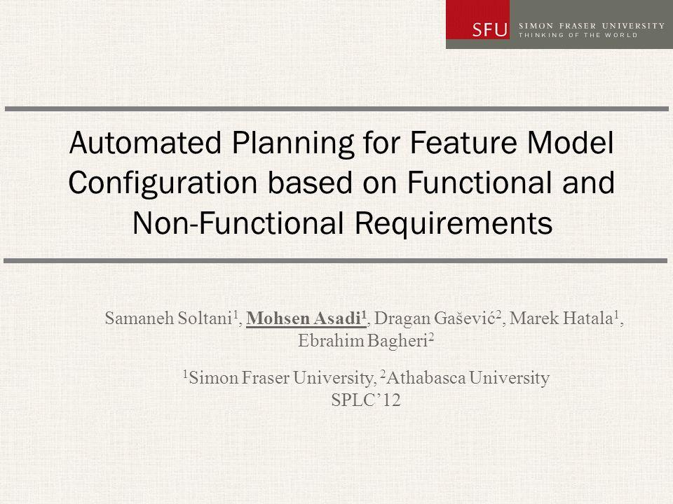 22 Generating Tasks and Methods (XOR) SPLC 12 Task: t f methods m 1 f, m 2 f for task t f with: Tsk-m 1 f = t f, Pre-m 1 f =  f 6   f 7, Dec-m 1 f = {o f 1 } Tsk-m 2 f = t f, Pre-m 2 f =  f 6   f 7, Dec-m 2 f = {t f 2 } f f1f1 f2f2 f6f6 f7f7 Required Exclude.........