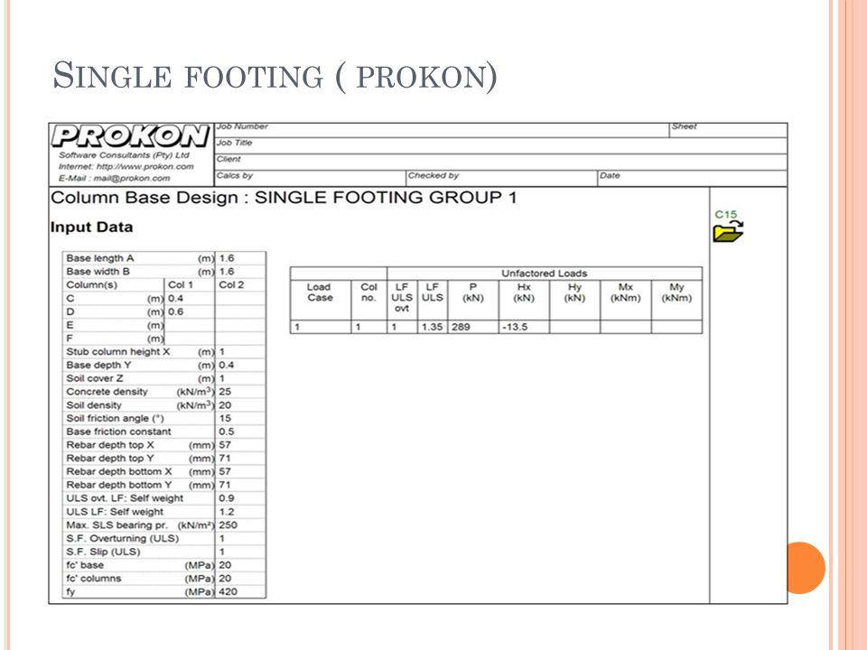 S INGLE FOOTING ( PROKON )